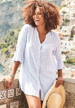 Sandra Button Up Cover Up Shirt available from SwimsuitsForAll, Click for more Details