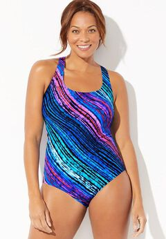 Chlorine Resistant Lycra Xtra Life Cross Back One Piece Swimsuit available from SwimsuitsForAll, Click for more Details