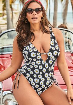 Ashley Graham A-List Plunge One Piece Swimsuit available from SwimsuitsForAll, Click for more Details