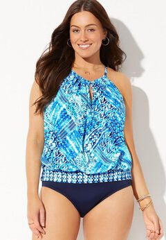 High Neck Blouson Tankini Set available from SwimsuitsForAll, Click for more Details
