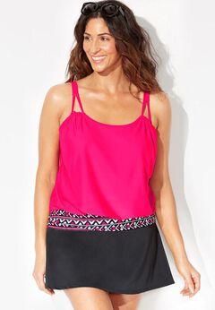 Loop Strap Blouson Tankini Set with Skirt