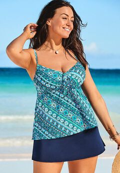 Tie Front Underwire Tankini Set with Side Slit Skirt available from SwimsuitsForAll, Click for more Details
