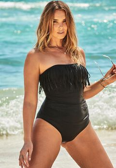Fringe Bandeau One Piece Swimsuit available from SwimsuitsForAll, Click for more Details