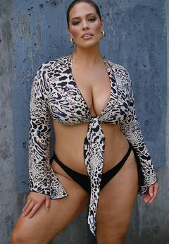 Ashley Graham Cover Up Crop Top available from SwimsuitsForAll, Click for more Details