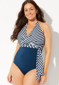 Faux Wrap Halter One Piece Swimsuit available from SwimsuitsForAll, Click for more Details