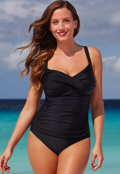 Ruched Twist Front One Piece Swimsuit