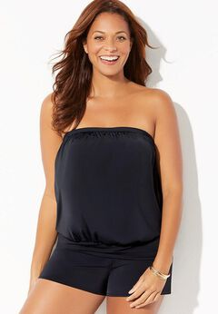 Bandeau Blouson Tankini Set with Banded Short