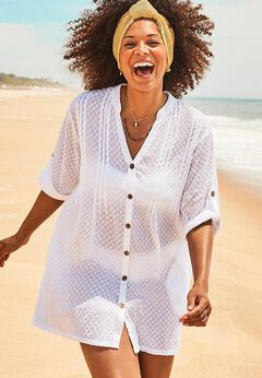Brynn Sheer Button Up Cover Up Shirt available from SwimsuitsForAll, Click for more Details