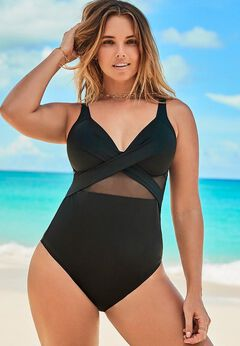Cut Out Mesh Underwire One Piece Swimsuit available from SwimsuitsForAll, Click for more Details