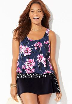 Side Tie Blouson Tankini Set with Skirt available from SwimsuitsForAll, Click for more Details