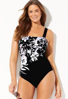 Square Neck Engineered One Piece Swimsuit available from SwimsuitsForAll, Click for more Details