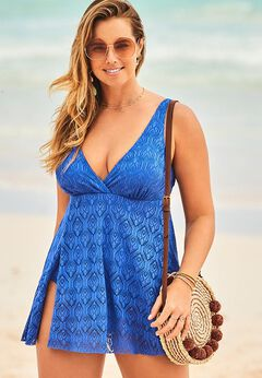 Crochet Side Slit V-Neck Swimdress available from SwimsuitsForAll, Click for more Details