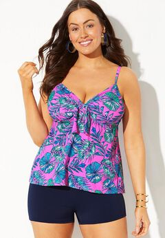 Tie Front Underwire Tankini Set with Boy Short available from SwimsuitsForAll, Click for more Details