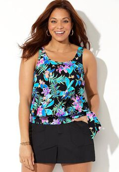 Side Tie Blouson Tankini Set with Cargo Short available from SwimsuitsForAll, Click for more Details