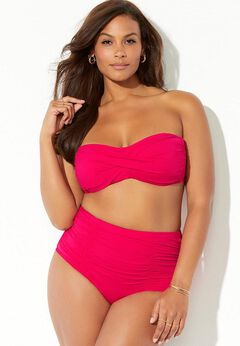 Valentine Ruched Bandeau High Waist Bikini Set available from SwimsuitsForAll, Click here to visit their site.