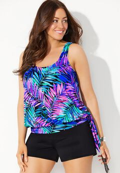 Side Tie Blouson Tankini Set with Banded Short