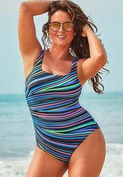 Chlorine Resistant Lycra Xtra Life Tank One Piece Swimsuit available from SwimsuitsForAll, Click for more Details