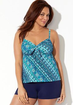 Tie Front Underwire Tankini Set with Banded Short available from SwimsuitsForAll, Click for more Details