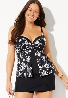 Faux Flyaway Underwire Tankini Set with Skort available from SwimsuitsForAll, Click for more Details