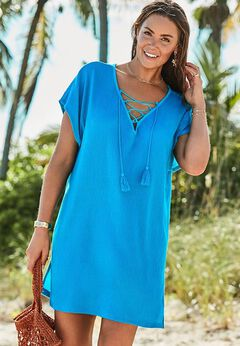 Esme Lace Up Cover Up Dress available from SwimsuitsForAll, Click for more Details