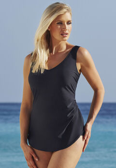 Sarong Front One Piece Swimsuit available from SwimsuitsForAll, Click for more Details