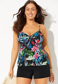 Tie Front Underwire Tankini Set with Banded Short