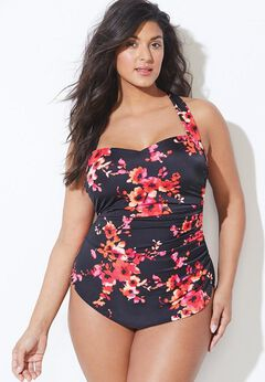 Chlorine Resistant H-Back Sarong Front One Piece Swimsuit available from SwimsuitsForAll, Click for more Details