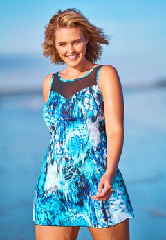 Mesh-Trim Swim Dress