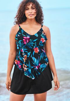 V-Neck Tiered Tankini by Trimshaper by Miraclebrand.