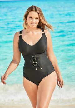 Ribbed Underwire One-Piece available from SwimsuitsForAll, Click for more Details