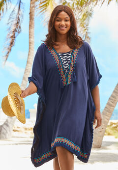 Lace-Up Caftan Cover Up available from SwimsuitsForAll, Click for more Details