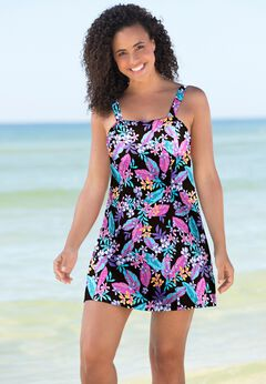Princess-Seam Swim Dress available from SwimsuitsForAll, Click here to visit their site.