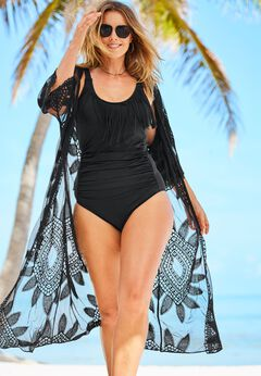 Open-Front Embroidered Cover Up