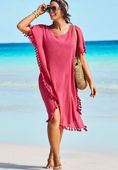 Everly Pom Pom Cover Up Tunic available from SwimsuitsForAll, Click here to visit their site.