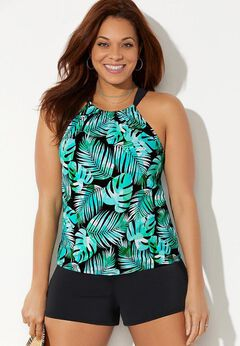 High Neck Tankini Set with Banded Short