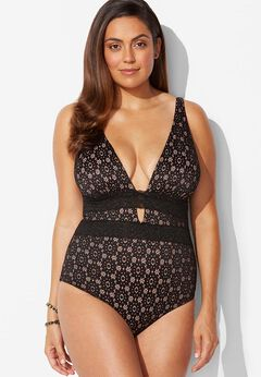 Lace Plunge One Piece Swimsuit