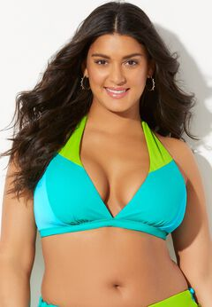 Romancer Colorblock Halter Triangle Bikini Top available from SwimsuitsForAll, Click for more Details