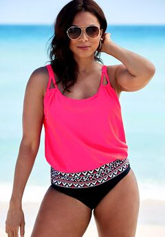 Loop Strap Blouson Tankini Set available from SwimsuitsForAll, Click for more Details