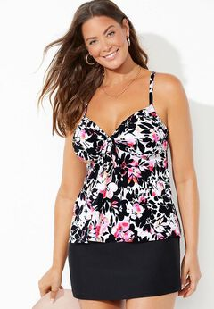 Tie Front Underwire Tankini Set with Side Slit Skirt