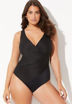 Ribbed Surplice One Piece Swimsuit