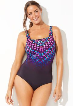 Chlorine Resistant Lycra Xtra Life Scoop Cross Back One Piece Swimsuit