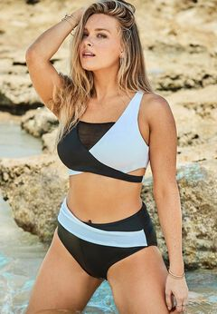 Hollywood Colorblock Wrap Bikini Set available from SwimsuitsForAll, Click here to visit their site.