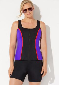 Chlorine Resistant Colorblock Zip Front Tankini Set with Bike Short