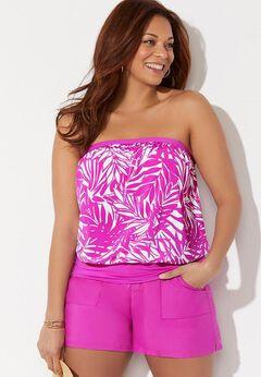 Bandeau Blouson Tankini Set with Side Slit Skirt