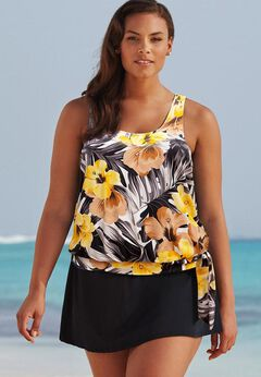 Side Tie Blouson Tankini Set with Skirt