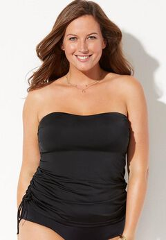 Bandeau Adjustable Tankini Top available from SwimsuitsForAll, Click for more Details