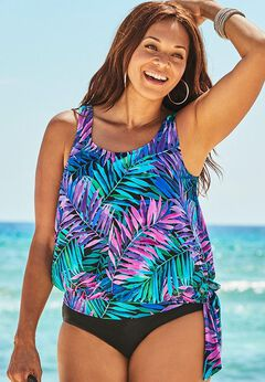 Side Tie Blouson Tankini Top