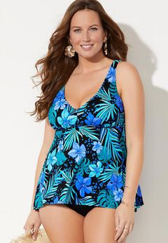 V-Neck Flowy Tankini Set