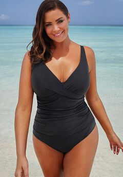 V-Neck One Piece Swimsuit available from SwimsuitsForAll, Click for more Details