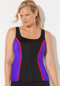 Chlorine Resistant Colorblock Zip Front Tankini Top available from SwimsuitsForAll, Click for more Details